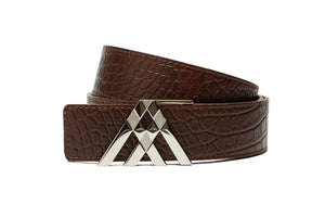 Brown Croc & Black Smooth Leather Pavilion Belt