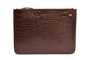 Brown Croc Leather Pouch Holder - PRE-ORDER