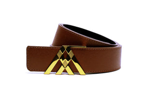 Brown Grain & Black Smooth Leather Pavilion Belt