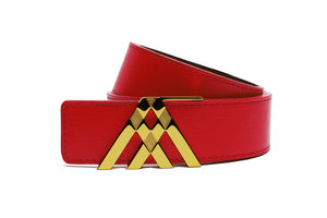 Red Grain & Navy Blue Smooth Reversible Leather Pavilion Belt - Antoni Manuel