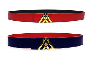 Red Grain & Navy Blue Smooth Leather Pavilion Belt