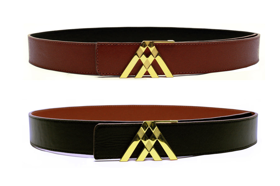 Brown Grain & Black Smooth Reversible Leather Pavilion Belt - Antoni Manuel