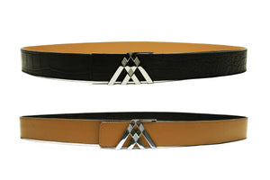 Black Croc & Tan Smooth Reversible Leather Pavilion Belt - Antoni Manuel