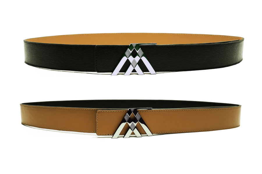 Black Grain & Tan Smooth Leather Pavilion Belt