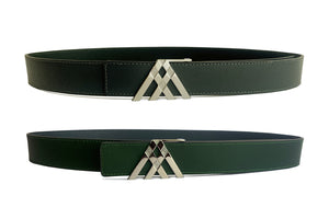 Grey Grain & Green Smooth Reversible Leather Pavilion Belt - Antoni Manuel