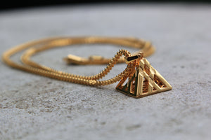 Gold Pyramid Pendant Chain - Men