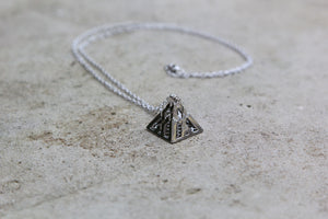 Silver Pyramid Pendant Chain - Men