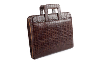 Croc leather briefcase for men