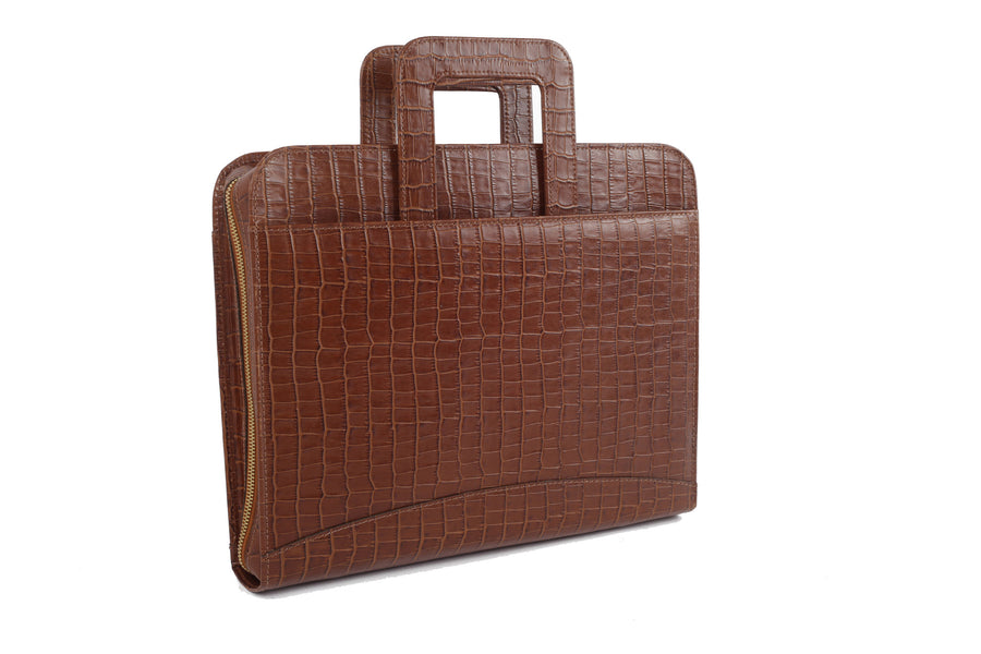 Tan Capsule Croc Leather Briefcase