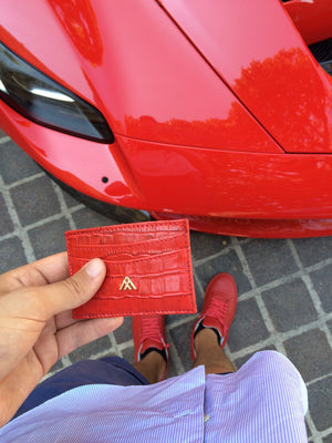 Red Croc Wallet Card Holder