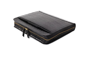 Black Capsule Croc Leather Briefcase