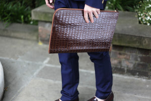 Brown Capsule Croc Leather Document Holder
