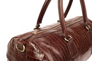 Brown Capsule Croc Leather Duffle Bag