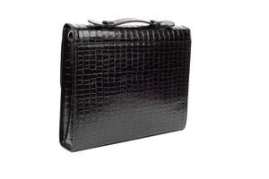 Black Capsule Croc Leather Messenger Briefcase