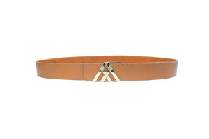 Light Tan Grain Leather Pavilion Belt
