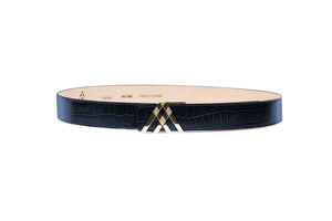 Navy Blue Croc Leather Pavilion Belt