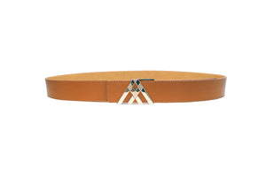 Tan Grain & Light Tan Smooth Leather Pavilion Belt