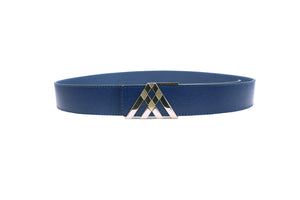 Blue Grain Leather Pavilion Belt