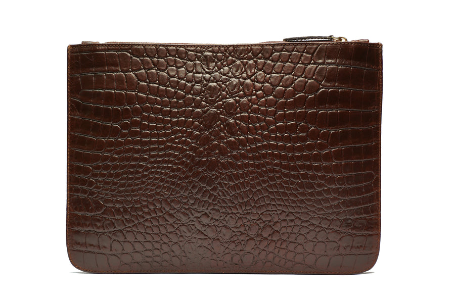 Brown Croc Leather Pouch Holder - PRE-ORDER - Antoni Manuel