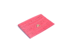 Pink Croc Wallet Card Holder