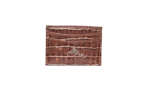 Tan Croc Wallet Card Holder - Antoni Manuel