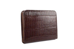 Brown Capsule Croc Leather Briefcase