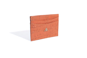 Orange Croc Wallet Card Holder