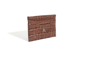 Tan Croc Wallet Card Holder