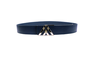 Navy Blue Grain & Smooth Leather Pavilion Belt