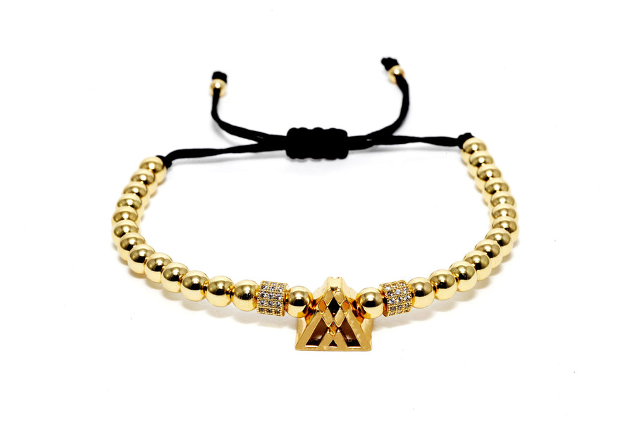 Gold Pyramid Macrame Bracelet - Men