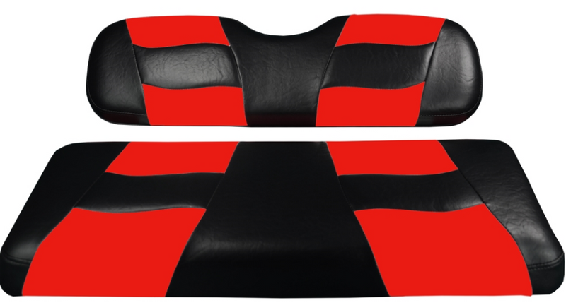 Madjax RIPTIDE 2001-Up Black/Red Two-Tone Front Seat Covers for Club Car DS Golf Carts by Madjax