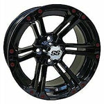 "14"" RHOX Offset Gloss Black Golf Cart Wheel w/ BURGUNDY Inserts"