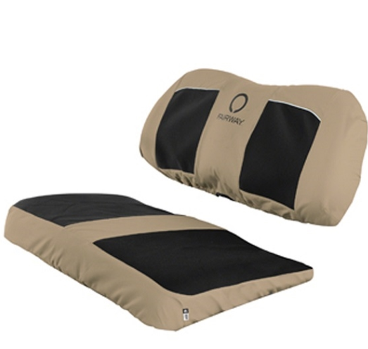 Light Khaki with Black Neoprene Golf Cart Seat Cover - Universal Fit