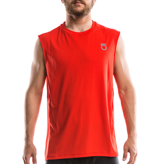 A picture of a man wearing a 'Lava Red'-color Men's Chalk Sleeveless Shirt from SeasonFive.
