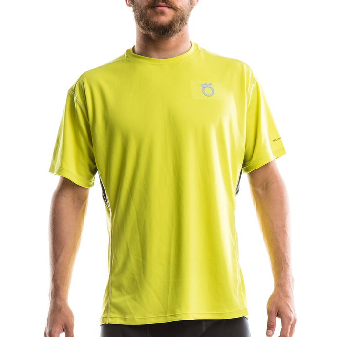 An image of a man wearing a 'sulphur yellow'-colored Men's Animas Short-Sleeve Shirt from SeasonFive.