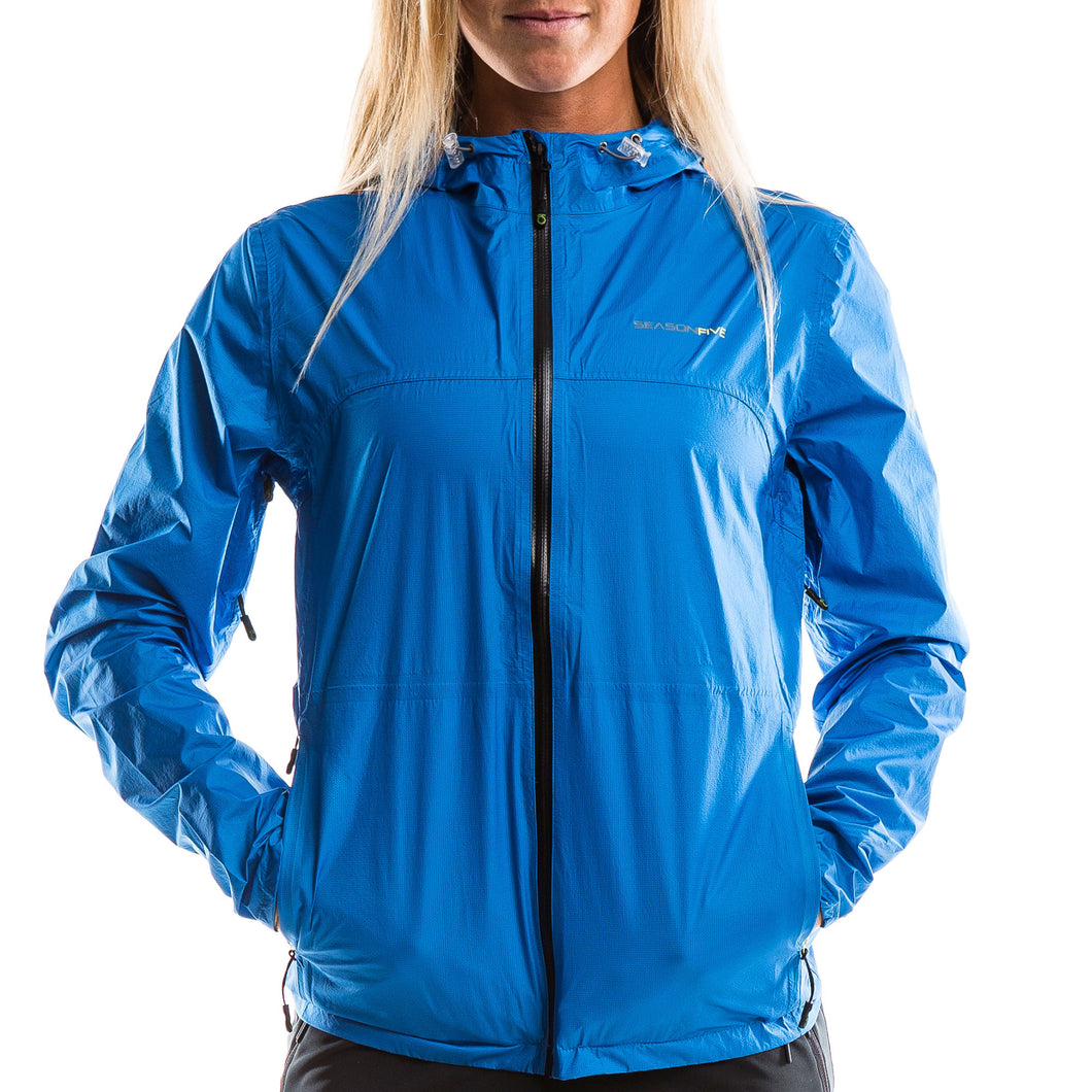 SeasonFive Women's Blanca Rain Shell jacket great for; biking, watersports, sailing, paddle boarding, fishing, trails, training, and backpacking