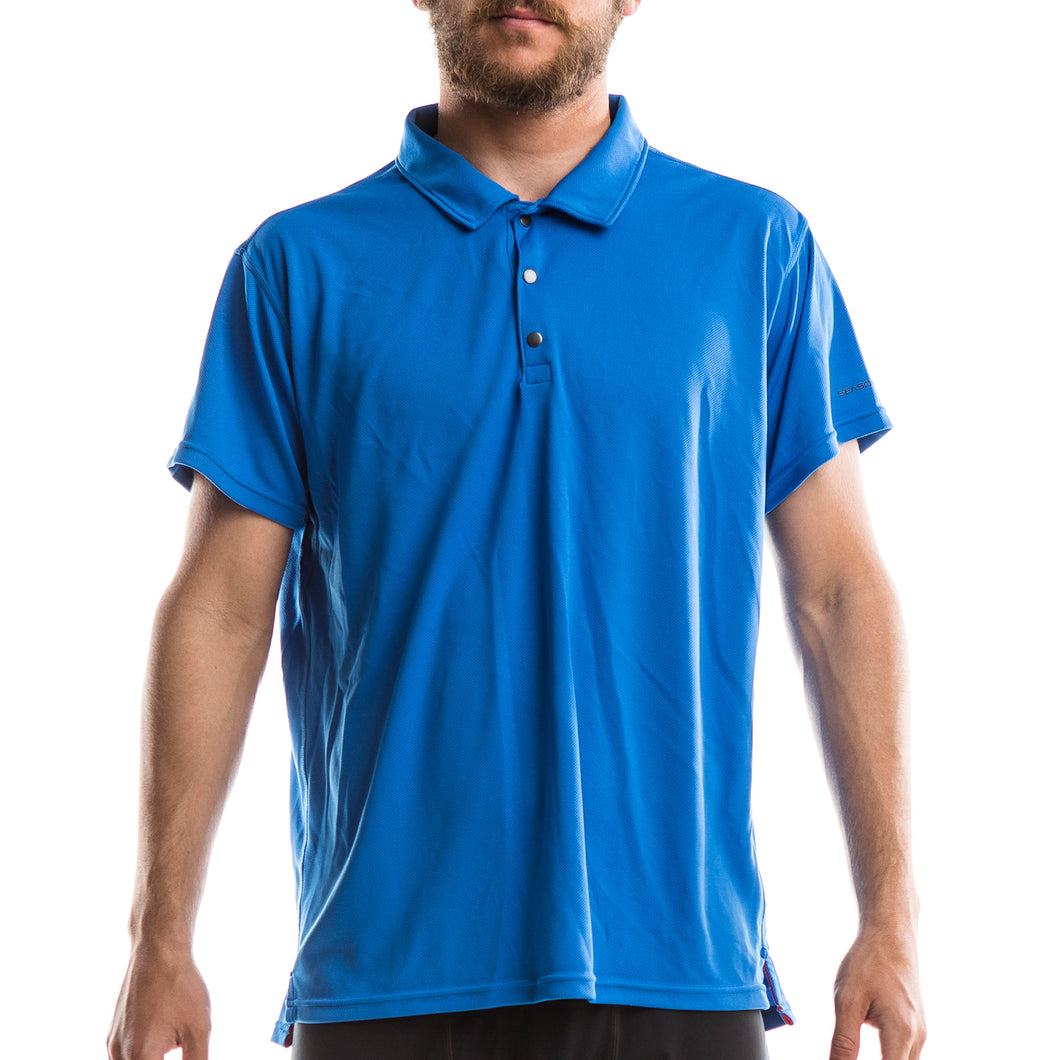 An image of a man wearing a 'Neptune Blue'-colored Colorado Polo from SeasonFive.