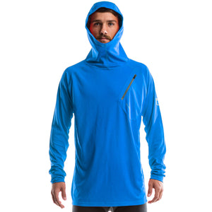 An image of a man wearing a blue Men's Spruce Hoodie from SeasonFive.