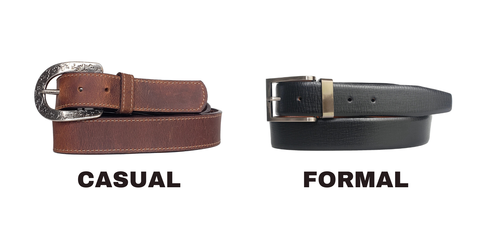 Casual leather belt being compared with formal leather belt.