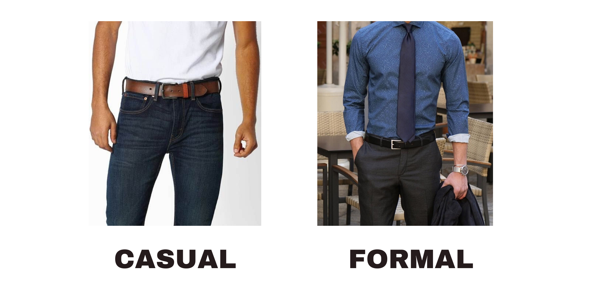 Comparing casual leather belt fashion with formal leather belt fashion