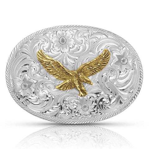Cowboy american plated belt buckle for leather belts.