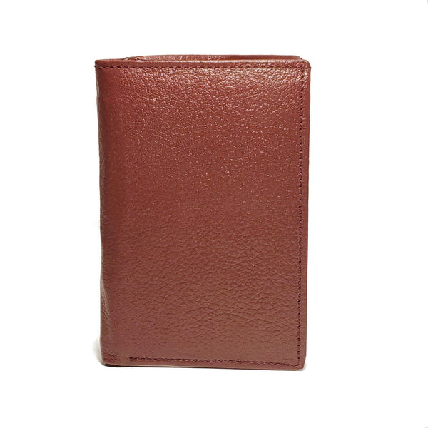 Men's Burgundy Mild Genuine Leather Triple Fold Wallet with RFID Blocking - Nab Leather Co