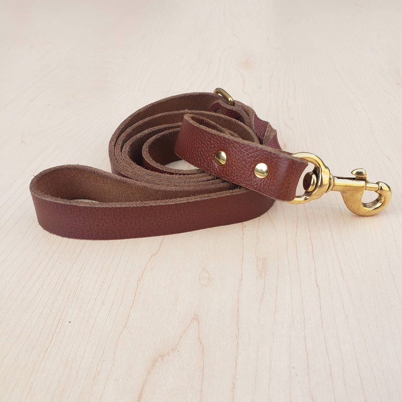 Black Braided Leather Dog Leash 60'' - Made in Canada