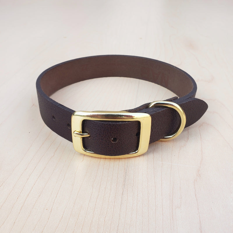 Black Leather Dog Collar - Made in Canada