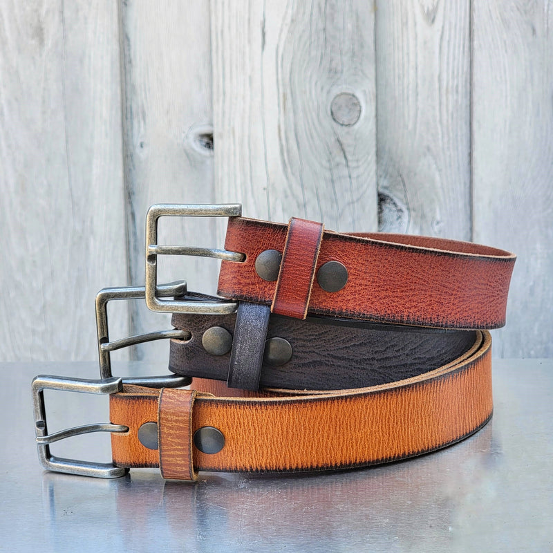 The Volcano Belt - Red Leather Belt with Charred Edges