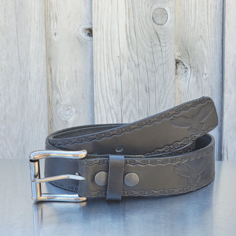 The Eagle Belt - Brown Embossed 100% Real Leather Belt Made in Canada
