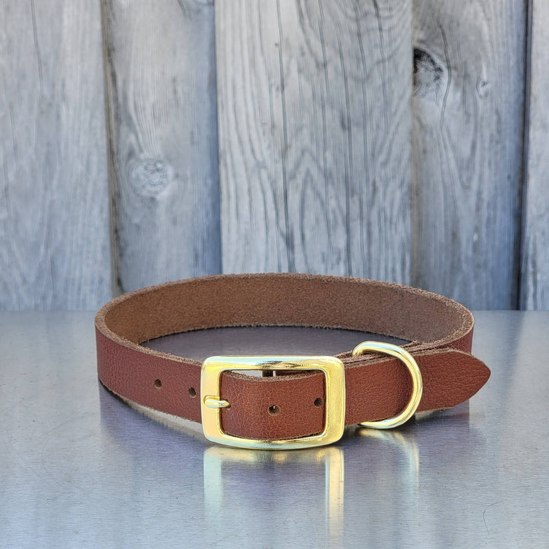 Cognac Leather Dog Collar - Made in Canada