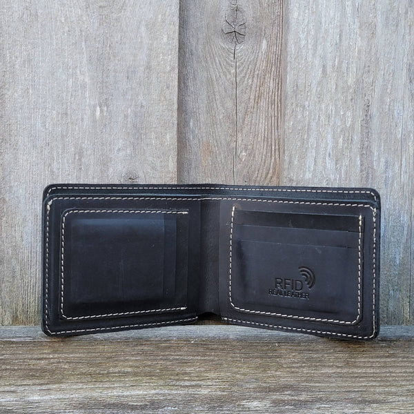 Black Full Grain Leather Minimalist Wallet - Made in Canada