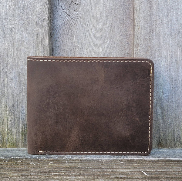 Brown Full Grain Leather Minimalist Wallet - Made in Canada