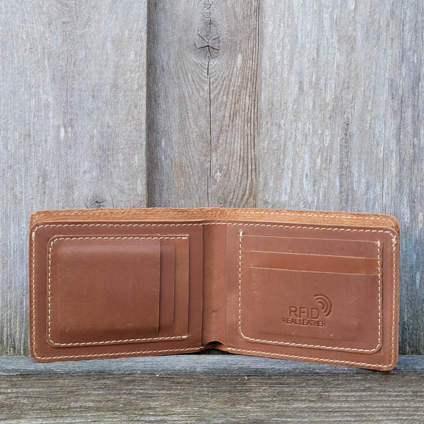 Cognac Full Grain Leather Minimalist Wallet - Made in Canada